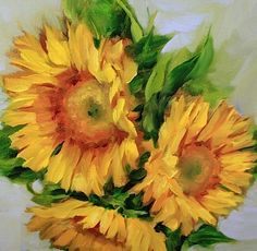 Lullaby Love Sunflowers, 12X12, Oil on Gallery Wrap Canvas www.nancymedina.com $125