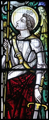 St Michael. Detail of a window in the Catholic church in Sherborne (Sacred Heart & St Aldhelm's).