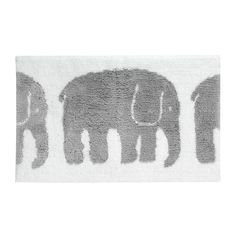 Finlayson Elefantti Grey Bathmat A herd of elephants walk by on this plush and absorbent cotton bathmat. Though playful, the bath mat retains a fresh and modern aesthetic thanks to clean lines and crisp colors. The Finlayson Elef.