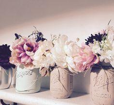 My diy painted Mason jars vases