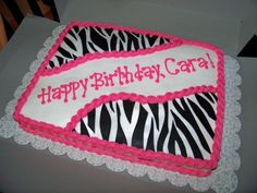 zebra striped and pink birthday cake | Zebra stripe birthday — Children's Birthday Cakes