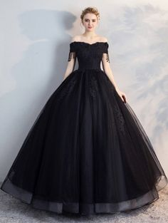4e68863f65654 Black Gothic Off-the-Shoulder Lace Appliqued Ball Gown Wedding Dress Black  Gothic Off Shoulder Lace Appliqued Ball Gown Wedding Dress