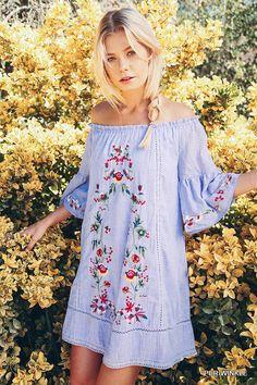 "Umgee Embroidered Boho Dress - Very ""Free People"" NWT #allyandashley #offtheshoulderdress"
