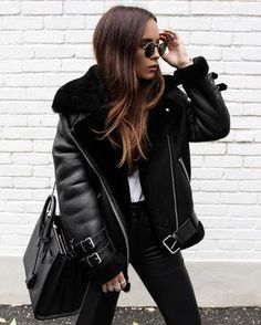 New black faux leather shearling warm women aviator coat winter pilot jacket - c. - New black faux leather shearling warm women aviator coat winter pilot jacket – casual fall outfit, - Indie Outfits, Casual Winter Outfits, Winter Fashion Outfits, Black Outfits, Spring Outfits, Black Women Fashion, Look Fashion, 90s Fashion, Fall Fashion