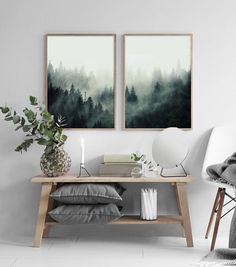 Set of 2 Forest Prints Forest Wall Art Mountain Print Scandinavian Print Landscape Wall Art Wall DecorAbstract Forest PrintHome Decor