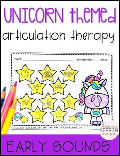 These adorable unicorn themed worksheets will motivate your students to practice early phonemes during speech therapy sessions! All worksheets are picture supported, making these fun activities ideal for preschool, kindergarten and early elementary students. All worksheets are black lined. Just print and go this NO PREP resource for therapy sessions or send home sheets for homework. Click here to see more!