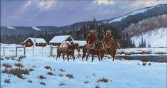 "Western Artist: Ron Stewart, ""Breaking Light"", Oil Painting on Canvas, Signed Lower Left Hand Corner, #744"