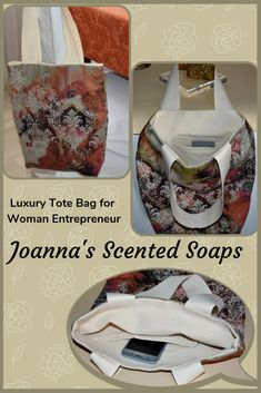 Excited to share this luxury handmade fabric shopping bag. A very stylish shoulder tote bag for a busy woman - totally unique and one of a kind. Fully lined with cream color canvas fabric with an inner slide pocket, boxed corners on the bottom and long cream color cotton strap handles.  The external fabric has a velour feel and appearance.