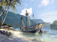 "Geoff Hunt Print - ""Pacific Haven"" Refitting HMS Lydia on the Island of Coiba. In CS Forester's The Happy Return, the Lydia was a middle-sized Fifth-rate built at Woolwich in 1796 to the design of Sir William Rule at a cost of £19,070. Her commission under Hornblower began on March 12, 1807.   -- on ScrimshawGallery.com #GeoffHunt #Hornblower"
