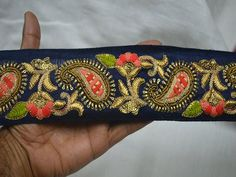 Wholesale Navy Blue Embroidered Decorative Trim By 9 Yard Indian Sari Border Craft Ribbon Paisley Trimming Sewing Trims Costume Fashion trim You Can Purchase From What's App no. is We also take wholesale enquires. Saree With Belt, Dupioni Silk Fabric, Magenta, Hand Work Embroidery, Border Embroidery, Embroidery Designs, Maggam Work Designs, Indian Fabric, Sewing Trim