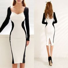 9479b40146148 Women s White Black Color Contrast Cocktail Party Evening Bodycon Pencil  Dress  unbrand  BallGown
