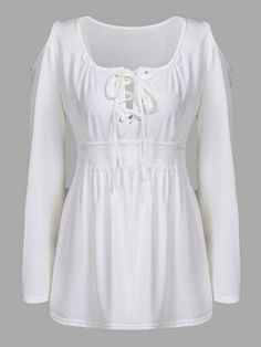 White Cold Shoulder Lace-up Chest Pleated T-shirts - US$15.95 -YOINS-mobile