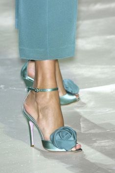 Blue Marine Shoes with Flower Bow