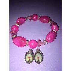 NWOT pink bracelet+cute Eiffel Tower studs Never worn set, no flaws just not my style:-) final price unless you bundle! Claire's Jewelry