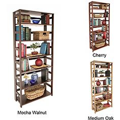 @Overstock - Number of shelves: Six   Materials: Hardwood  Wood finish: Hand-rubbed lacquer  http://www.overstock.com/Home-Garden/Flip-Flop-67-inch-Folding-Bookcase/6310522/product.html?CID=214117 $197.99