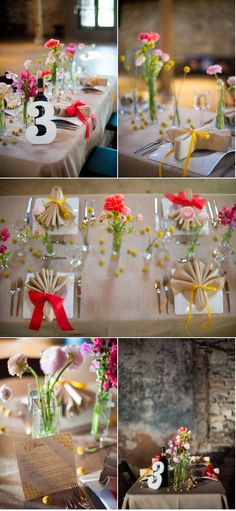 Normally I would HATE this napkin fold but it looks real cute with this theme and the must have ribbon