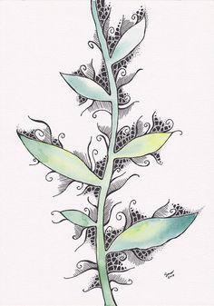 Original plant illustration. Watercolor and ink drawing on paper. Green leaves drawing. Original artwork. Minimalist watercolor art.