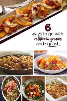 Be the king or queen of Thanksgiving Day side dishes with one of these California grape and squash recipes. Entree Recipes, Side Dish Recipes, Veggie Recipes, New Recipes, Side Dishes, Vegetarian Recipes, Cooking Recipes, Favorite Recipes, Healthy Recipes