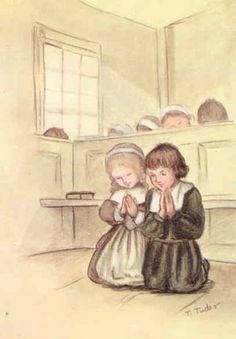 "Two sweet pilgrims praying from Tasha Tudor's ""First Graces"""