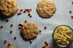 Sweet Corn + Butterscotch Cookies — Probably This | Quick profile of these cookies:  Chewy because of the corn kernels Super butterscotchy because of the butterscotch morsels Slightly crispy on the outside but not in a weird way