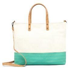 Kork Handtasche «Green Stripe» – Vegane Korktasche mit Baumwolle Vegan Fashion, Laptop Tote, Fanny Pack, Sustainable Fashion, Handbags, Leather