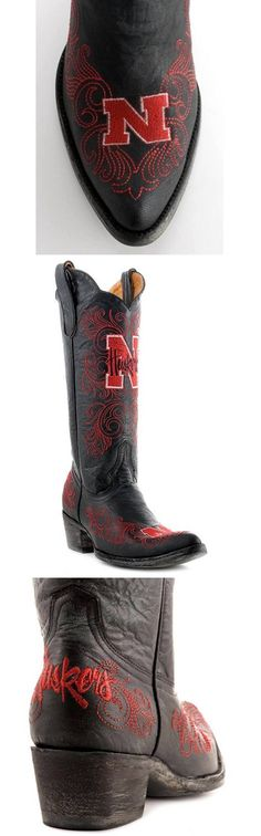 University of Nebraska Cornhuskers - distressed pointed toe cowboy / cowgirl boots with logo