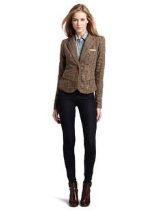 Women's Glen Check Tweed Blazer: Clothing