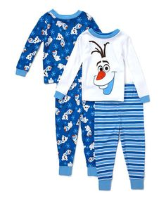 Look what I found on #zulily! Four-Piece Blue & White Olaf Pajama Set - Toddler #zulilyfinds