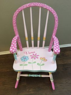 Painted Kids Chairs, Painted Rocking Chairs, Upholstered Rocking Chairs, Whimsical Painted Furniture, Painted Tables, Kids Table Redo, Painting Kids Furniture, Furniture Ideas, Modern Furniture