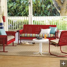 {retro outdoor furniture collection} in white or red via grandinroad.com, including a glider sofa, which i've been coveting for at 15 years!