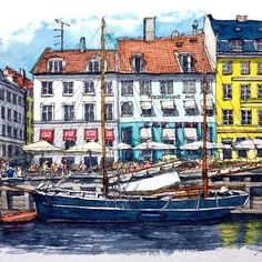 デンマーク コペンハーゲン Copenhagen , Denmark #水彩画 #透明水彩 #スケッチ #watercolor #watercolour #watercolorpainting #watercolorsketch #urbansketch #urbansketchers #urbansketching #travelsketch #usk #archisketcher
