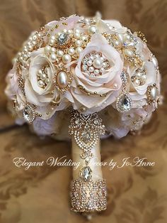 Lots of bride-to-bes might know the wedding event flower they desire in their own bouquet, but are a little mystified about the rest of the wedding event flowers needed to complete the event and reception. Gold Bouquet, Wedding Brooch Bouquets, Silk Flower Bouquets, Bride Bouquets, Flower Bouquet Wedding, Silk Flowers, Crystal Bouquet, Purple Bouquets, Bridesmaid Bouquets