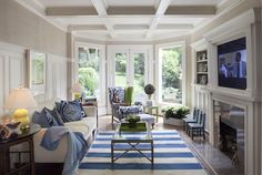 Family Room - TV Room comfy casual but styled. Love the blue and white decor