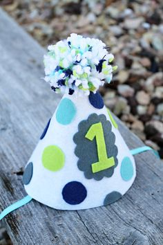 Boys 1st Birthday Party Hat Boys Felt Polkadot by LaLaLolaShop
