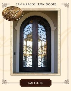 LUXURY FRONT IRON DOOR HARDWARE INCLUDED Operable Glass Panels & Modern Iron Door with Square Transom - Modern Design Double Wrought ...