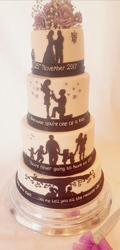 Silhouette wedding cake by Thesugarfloristyork - http://cakesdecor.com/cakes/306970-silhouette-wedding-cake