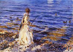 A Landscape Study at San Vigilio, Lake of Garda - John Singer Sargent  Girl Fishing 1913