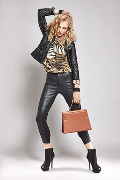 Want to feel sexy tonight? All you need is an animal-printed silky top and a pair of heeled ankle-boots...