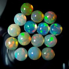 9 MM 26 Carat AAA Natural Ethiopian Welo Fire Opal Round Cabochons 15 Pieces Lot #Unbranded