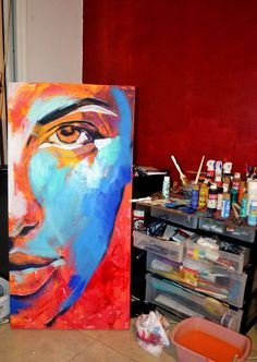 """Work in progress of my new painting """"Fixation"""". x Acrylics, Correction Fluid and Paint Markers on Canvas. Easy Canvas Painting, Diy Canvas Art, Painting & Drawing, Painting Lessons, Colorful Drawings, Art Drawings, Pop Art, Portrait Art, Art Inspo"""