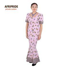 Africano vestidos novos para as mulheres femmes robe roupa elegante estilos tradicionais de impressão africano cera de algodão plus size outfitsA622618