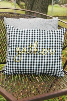 "How cute is this Plaid and Gold Gather Pillow? It whips up in less than 30 minutes (depending on your sewing skill level) and is made with a pre-cut gold foil vinyl ""gather"" you just iron on!"