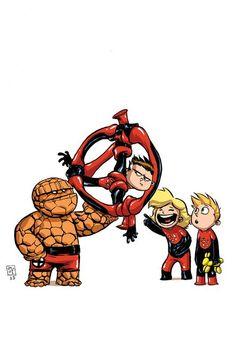 Ilustración de Skottie Young para la portada alternativa de Fantastic Four vol.5, 1, incluido en Los Cuatro Fantásticos 77 http://www.paninicomics.es/web/guest/news?id=86248