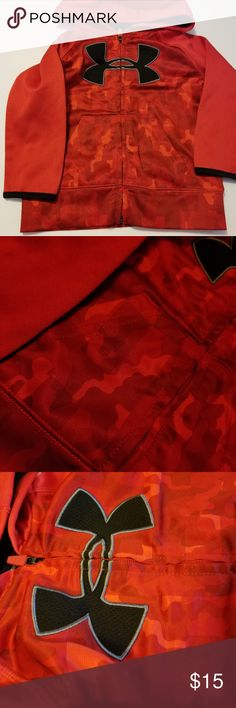 2T red camo under amour jacket Like new condition last photo shows color in natural lighting, others taken under a lamp. Has a large under armour symbol on front Toddlers size 2T Under Armour Jackets & Coats
