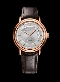 """The Raymond Weil Maestro Trois Aiguilles Or Rose, encased in stainless steel with rose-gold PVD plating, is powered by an automatic movement with a 38-hour power reserve. The hands and indices are also plated in rose gold, while the silver dial features a """"clou de Paris"""" design. The Raymond Weil Maestro Trois Aiguilles Or Rose has a price of $1,395."""