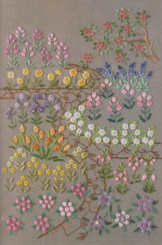 PDF Pattern of One day in my garden hand embroidery pattern sewing quilt applique patchwork art gift handmade ebook on Etsy, Flower Embroidery Designs, Hand Embroidery Stitches, Silk Ribbon Embroidery, Crewel Embroidery, Embroidery Patches, Cross Stitch Embroidery, Embroidery Patterns, Garden Embroidery, Simple Embroidery