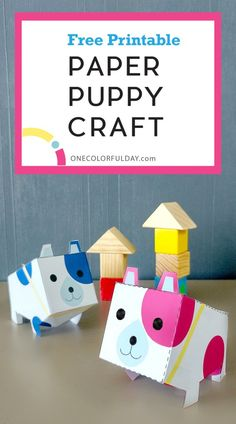 Paper Puppy Craft Free Printable - OneColorfulDay