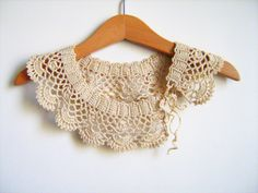 Collar Necklace, Handmade crochet Peter Pan Collar Necklace, beige cotton collar,  ready to shipping, for her.. $29.00, via Etsy.