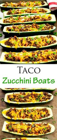Taco Stuffed Zucchini Boats - Keto Vegetarian - Ideas of Keto Vegetarian - Taco Zucchini Boats. Low carb and healthy solution for taco night! Low Carb Recipes, Beef Recipes, Cooking Recipes, Healthy Recipes, Fast Recipes, Family Recipes, Cheese Recipes, Shrimp Recipes, Zucchini Boat Recipes