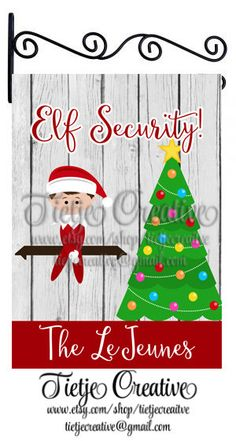 Christmas Flag, Elf Security, Christmas Elf Flag, Personalized Flag by TietjeCreative on Etsy